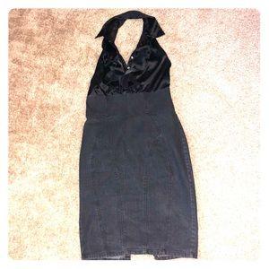 Dresses & Skirts - Denim and satin backless dress